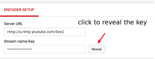 Youtube live streaming key